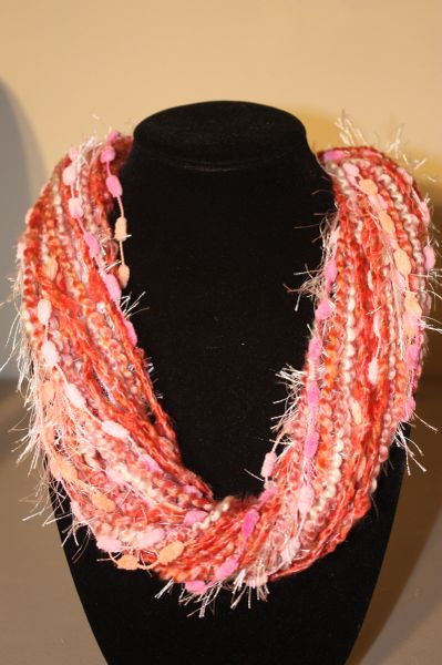 Mix of Pink,Tangerine and Salmon Yarn Necklace Scarf