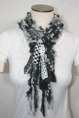 Black and White Yarn Pigtail Scarf with Fabric Embellishment