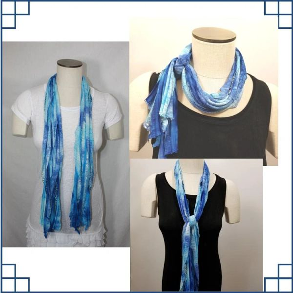 Royal Blue and Black Tiedye Leopard Print Flutter Scarf