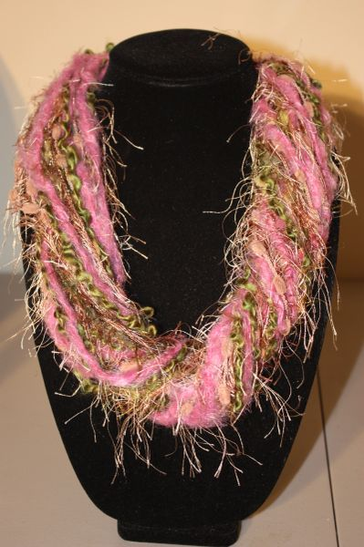 Angora Magenta/Browns/Greens Yarn Necklace Scarf