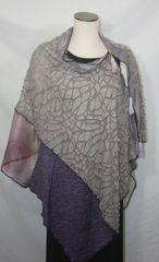 Patchwork Poncho - Heather Purple Crackle Knit, Gray Lace, Organza, Purple