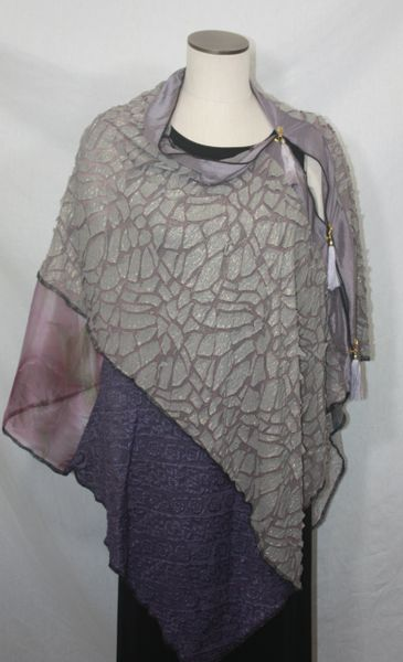 Patchwork Poncho - Heather Purple Crackle Knit, Gray Lace, Organza, Purple
