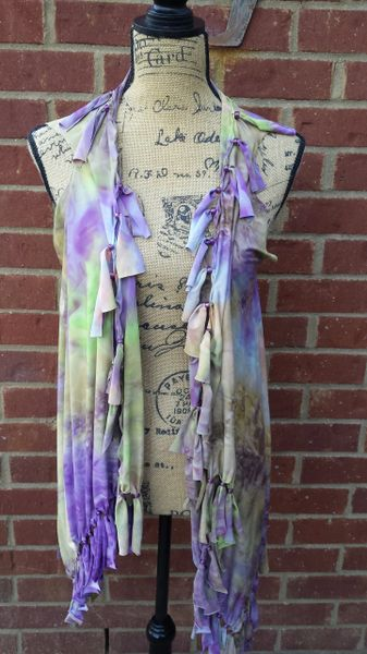 Purple and Green Tie Dyed Fringe Vest with Beaded Fringe and Tuck Details