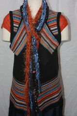 Orange Blue and Black Multi Yarn with Eyelash Crocheted Rope Scarves