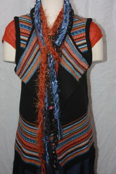 Orange Blue and Black Multi Yarn with Eyelash Crocheted Rope Scarves