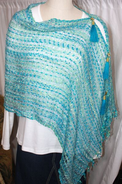 Woven Shades of Turquoise/ Lime Green Vest/Poncho/Scarf with Tassel Accents