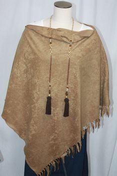 Handcrafted Light Brown Ultrasuede Fringed Poncho
