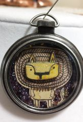 Lion Pocket Watch Necklace with Natural Stone and Bead
