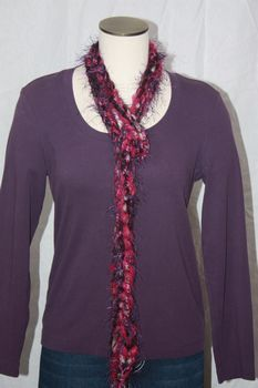 Magenta and Purple Yarn with Purple Eyelash Crocheted Rope Scarf