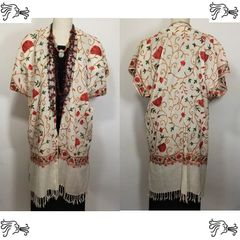 Cream, Pink, Red and Green Embroidered 100% Wool Cream Embroidered Lace Kimono