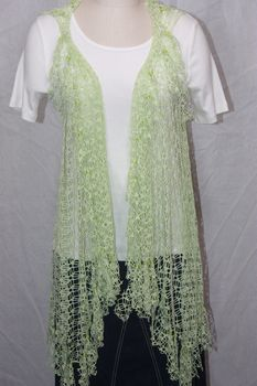 Celery Green Net Fringe Vest with Beaded Fringe and Tuck Detail
