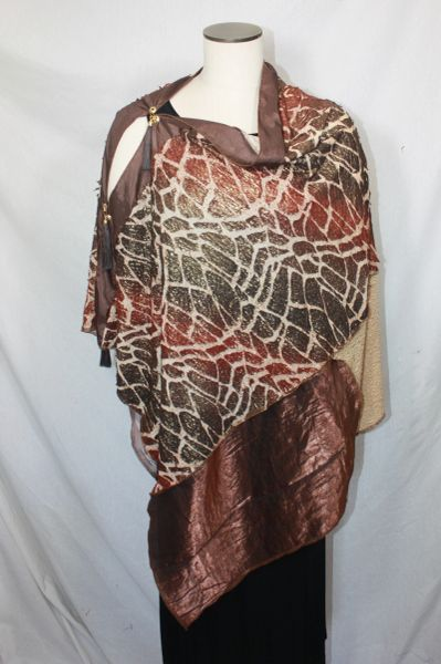 Patchwork Poncho - Brown Cracked Knit Foil Knit with Browns, Camels & Bronze