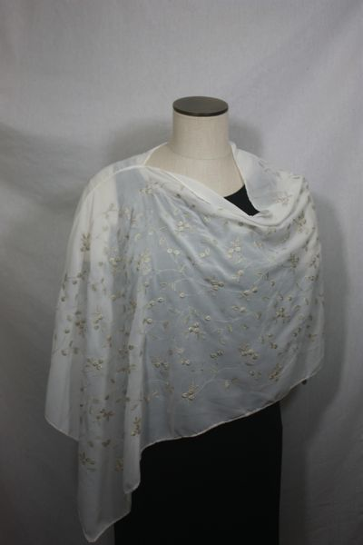 Cream Embroidered Fabric Poncho