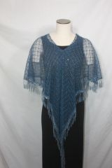 Blue Lacey with Venetian Lace Fabric Poncho