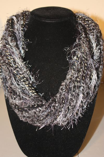 Mix of Dark Grey/Black Yarn Necklace Scarf