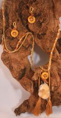 Amber Agate Druzy Natural Stone and Suede Tassel Necklace/Earring Set