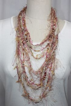 Fiber and Bead Yarn Necklace/Scarf Magnetic Clasp