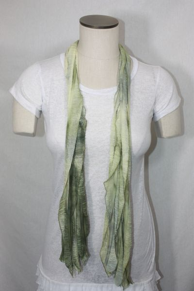 Olive Green Tiedye Flutter Scarf