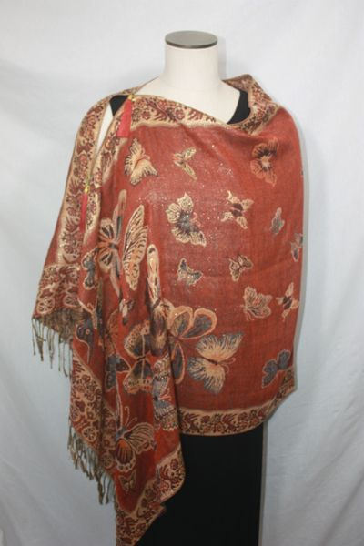 Pashmina Poncho - Rust, Copper, Camel and Grays