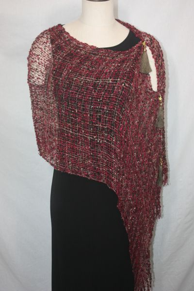 Woven Shades of Red, Burgundy, Brown Vest/Poncho/Scarf with Tassel Accents