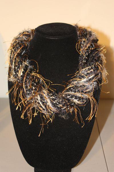 Black/Dark Grey/Goldish Brown Yarn Necklace Scarf