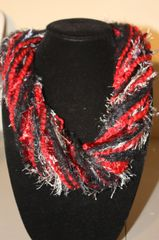 Black/Red/Gray Yarn Necklace Scarf