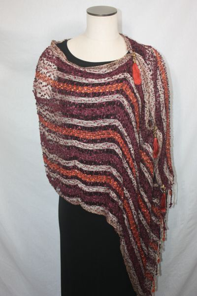 Woven Shades of Burgundy, Orange, Cream Vest/Poncho/Scarf with Tassel Accents
