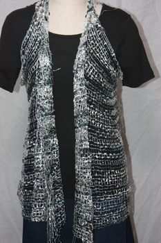Woven Black/Grey/White Sequin Vest/Scarf