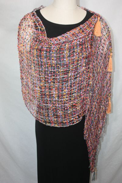 Woven Shades of Red, Purple, Orange, Yellow, Black Vest/Poncho/Scarf with Tassel Accents