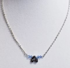 Initial December Birthstone Bar Silver Necklace 16 Inch Chain