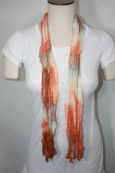Orange, Cream and Gray Tiedye Flutter Scarf
