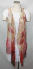 Tan & Red Polyester Chiffon Fabric 3-Panel Vest Scarf Lotus Print