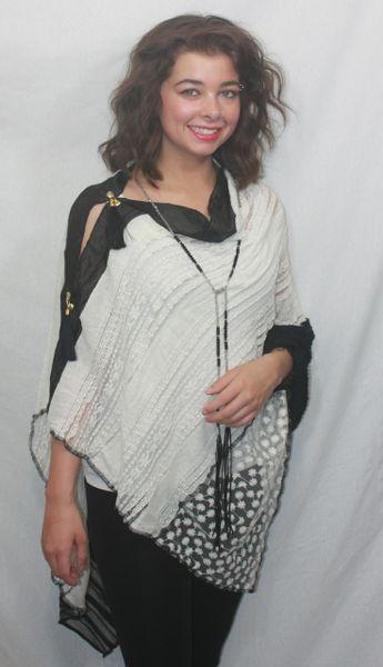 Patchwork Poncho - Cream Lace & Black