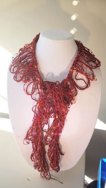 Crocheted Copper Satin Yarn and Gold, Red, Orange, Purple and Magenta Trellis Yarn Loop Scarf