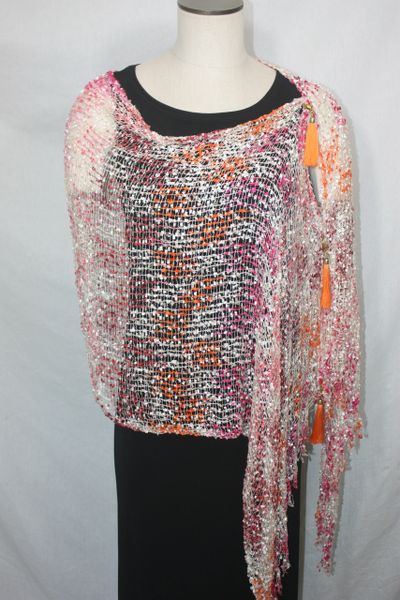 Woven Shades of White, Orange, Pink, Magenta Vest/Poncho/Scarf with Tassel Accents