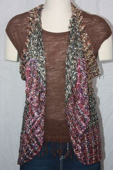 Woven Multi Brown/White/Multi Grey Vest/Scarf