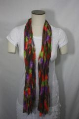 Tomato Red, Olive Green and Brown Ribbon Scarf