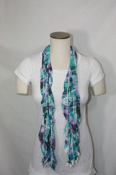 Teal, Purple, White, Black Tiedye Flutter Scarf