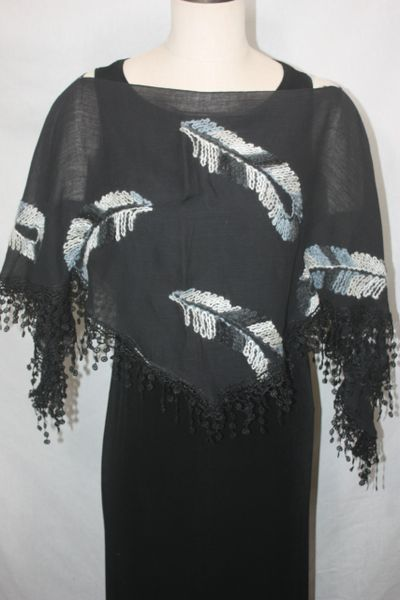 Black Feather Embroidered Fabric Poncho