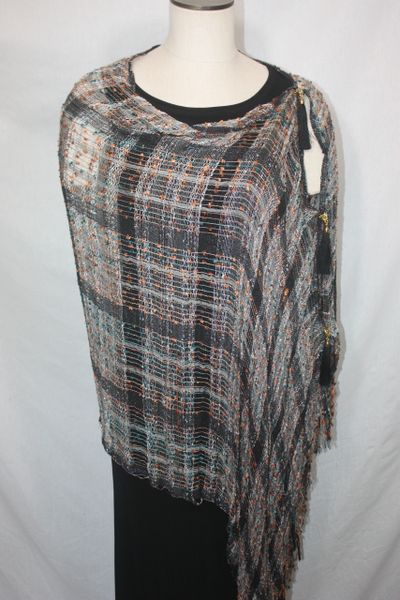 Woven Shades of Black, Orange, Teal Vest/Poncho/Scarf with Tassel Accents