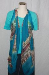 City Scape Blue and Brown Hues Tunic Vest Scarf