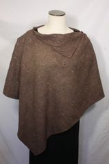 Brown Embroidered Microsuede Poncho