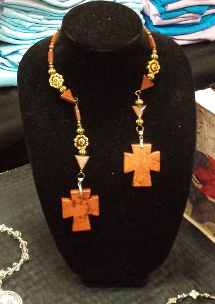 Leaf Jasper Rustic Cross and Ceramic Double Dangle Necklace and Earring Set.