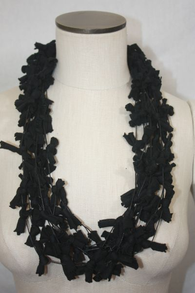 Black TeeKnot on Black Cord Yarn Necklace Scarf with Magnetic Clasp