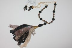 Black & Brown Tassel Stone and Gold Bead Necklace with Matching Earrings