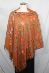 Coppery Brown, Orange and Green Medium Embroidered Kashmiri 100% wool 4 Way Ponchos Pashminas with Tassel Accents