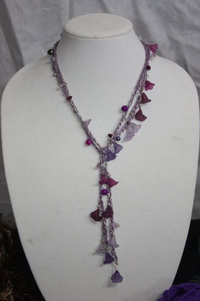 Purple Hues with Natural Stone Crocheted Thread Lucite Daisy Chain Necklace Lariat