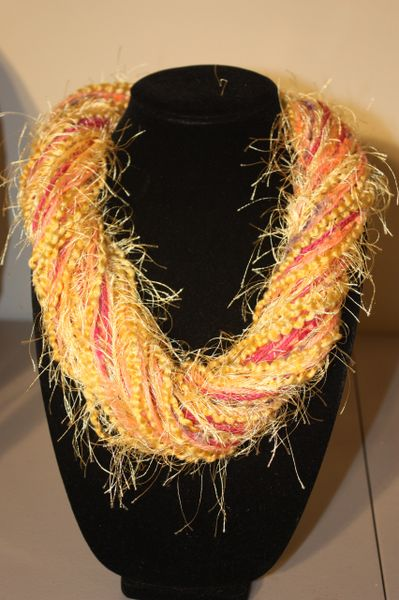 Golden Yellow/Magenta/Pink Yarn Necklace Scarf