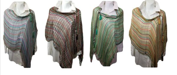 Woven Shades with Striped Red, Blue, Green, Brown Vest/Poncho/Scarf with Tassel Accents