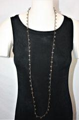 Long Black Irish Linen Crocheted Lariat with Light Gray Crystal Beads
